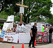 Protesters in front of Terri Schiavo's Pinellas Park, Florida hospice, March 27, 2005.