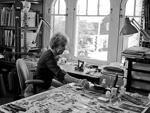 Terry Braunstein (artist) - This is a photograph taken by Katie Shapiro depicting the artist Terry Braunstein as she works in her studio.