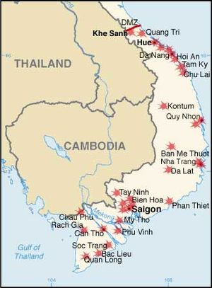Operation Coburg - Major South Vietnamese population centres and installations targeted by the Viet Cong during the 1968 Tet Offensive.