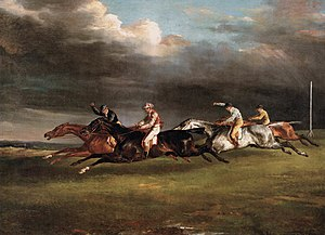 Gustavus (horse) - Gustavus (third from left) behind the frontrunner Reginald in the 1821 Epsom Derby in a painting by Théodore Géricault.
