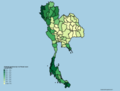 Thailand provinces by % of forest cover.png