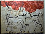 The Antelopes Fresco, from Akrotiri, Thera (Santorini), Minoan Civilization, 16th Century BC, National Archaeological Museum of Athens (14115163145).jpg