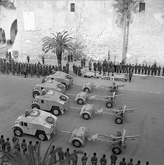 1st Devonshire Engineers - Churchill on the podium takes the salute at the Tripoli victory parade, 4 February 1943.