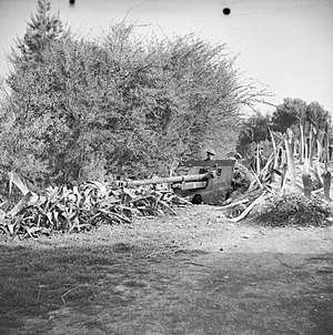 Queen's Own Royal Glasgow Yeomanry - A 17-pdr anti-tank gun of the 64th Anti-Tank Regiment (Queen's Own Royal Glasgow Yeomanry), Tunisia, 20 February 1943.