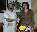 The Federal Minister of Food, Agriculture and Consumer Protection, Germany, Ms. Ilse Aigner calls on the Minister of State for Agriculture, Consumer Affairs, Food & Public Distribution, Prof. K.V. Thomas, in New Delhi.jpg