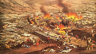 Johnstown Flood - A contemporary rendition of the scene at the Stone Bridge (1890)