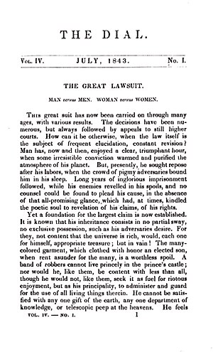 "The Dial - July 1843 issue of The Dial, featuring Margaret Fuller's ""The Great Lawsuit"""