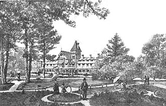 Hotel Del Monte - Drawing of grounds from the book Mexico, California and Arizona; being a new and revised edition of Old Mexico and her lost provinces.(1900)