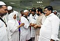 The Minister of State for Minority Affairs (Independent Charge) and Parliamentary Affairs, Shri Mukhtar Abbas Naqvi greeting the Haj Pilgrims, during the first flight flag-off ceremony, in New Delhi on August 03, 2016.jpg