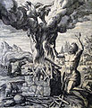 The Phillip Medhurst Picture Torah 30. Cain and Abel make an offering. Genesis cap 4 vv 3-7. De Vos.jpg