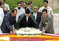 The President of Afghanistan, Mr. Hamid Karzai laying wreath at the Samadhi of Mahatma Gandhi at Rajghat, in Delhi on August 04, 2008.jpg