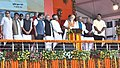 The Prime Minister, Shri Narendra Modi unveiling the Foundation Stones of Projects under Namami Gange & National Highway projects, in Mokama, Bihar.jpg
