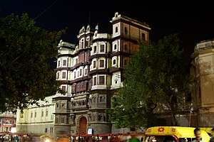 Indore State - The Rajawada (Old Palace) of Indore.