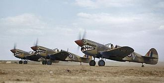 Desert Air Force - Kittyhawks of No. 112 Squadron RAF prepare to take off in Tunisia.