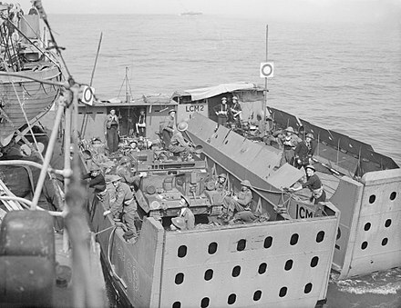 Landing Craft Mechanised Mark 1 on exercise before Dieppe The Royal Navy during the Second World War- the Dieppe Raid, August 1942 A11228.jpg