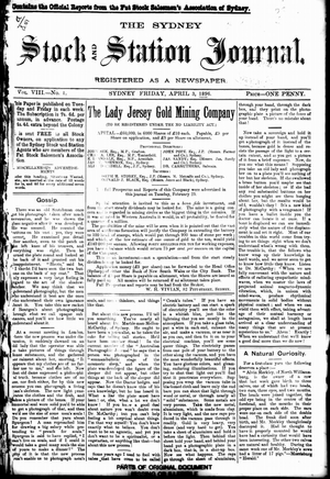 The Sydney Stock and Station Journal - Front cover of The Sydney Stock and Station Journal on 3 April 1896