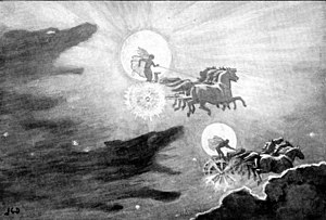 "Máni - ""The Wolves Pursuing Sol and Mani"" (1909) by J. C. Dollman."