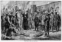 L'esecuzione dell'ultimo sovrano Inca Atahualpa da parte degli spagnoli. Illustrazione di A.B. Greene, 1891.