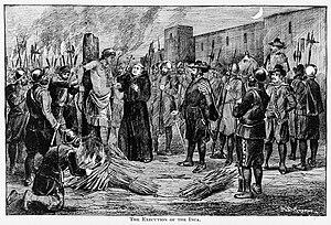 La ejecución del Inca Atahualpa por los españoles. Las religiones nativas fueron proscritas por el cristianismo, introducido por los invasores. Ilustración de A.B. Greene, 1891.