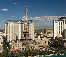 The hotel Paris Las Vegas as seen from the hotel The Bellagio.jpg