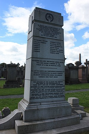 Kilbirnie Street fire - The memorial to those lost in the Kilbirnie Street Fire, Glasgow Necropolis