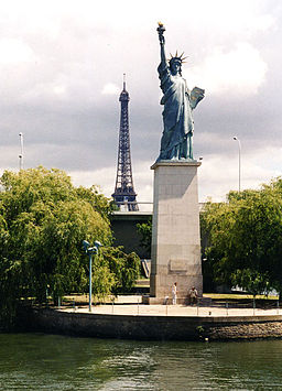 The small Statue of Liberty on the river Seine in Paris, June 2002