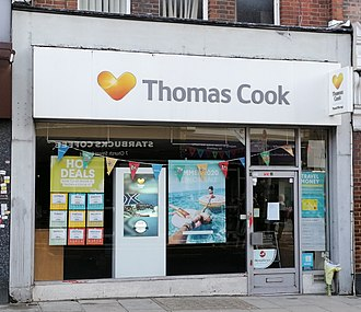 A Thomas Cook store in the United Kingdom, which is now operated by Hays Travel Thomas Cook R.I.P. flowers Enfield, London.jpg