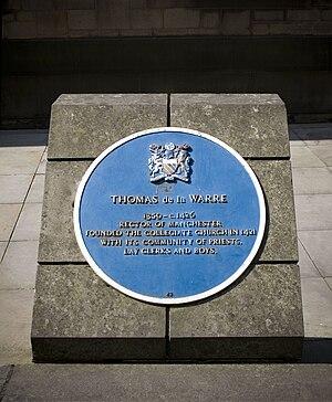 Thomas la Warr, 5th Baron De La Warr - A Blue plaque for Thomas de la Warre outside Manchester Cathedral
