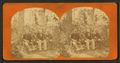 Three gentlemen pose on rustic bench, each holding a walking stick, from Robert N. Dennis collection of stereoscopic views.png