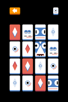 "Tiles with ""monster"" personalities—big eyes and line-shaped mouths, black background, other tiles with diamonds and circles"