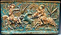 Tile. Hunting scene, part of a large frieze in a palace in Iran (Kashan or Ray). 13th century CE. Quartz ceramic, in and on-glaze painting, gold leaf. Islamic Art Museum (Museum für Islamische Kunst), Berlin, Germany.jpg