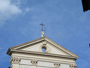 Sant'Eustachio (rione of Rome) - The head of the deer on the top of the church of Sant'Eustachio.