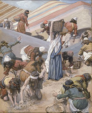 Eikev - The Gathering of the Manna (watercolor circa 1896–1902 by James Tissot)