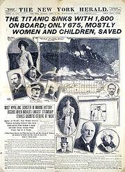 New York Herald píše o katastrofě Titanicu