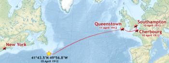 De route van de eerste reis van de Titanic's, met de coördinaten van haar het dalen