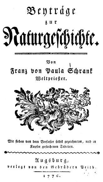 Franz von Paula Schrank - Beyträge zur Naturgeschichte.