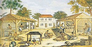 History of commercial tobacco in the United States - This 1670 painting shows enslaved Africans working in the tobacco sheds of a colonial tobacco plantation