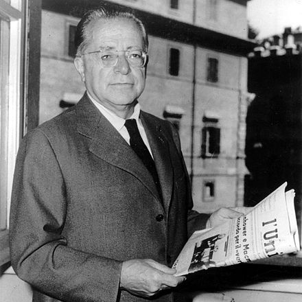 Togliatti with a copy of L'Unita newspaper, in 1950s. Togliatti Unita.jpg