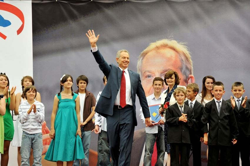 Tony Blair in Kosovo with children named after him2