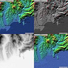 4 images topographiques (20km de côté) de Nice (avec les villes en couleurs, en relief, en niveau de gris, ou sans).