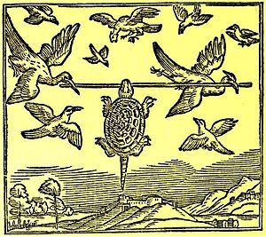 The Tortoise and the Birds - A woodblock from Thomas North's translation of Bidpai, 1570
