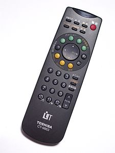 A Toshiba remote control, photographed in 2009.