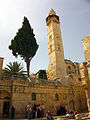 Tower and tree at Church of the Holy Sepulchre, Jerusalem.jpg