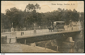 Gawler, South Australia - Horse Tram crossing the bridge in Gawler