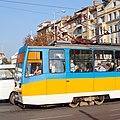 Tram in Sofia near Sofia statue 2012 PD 042.jpg