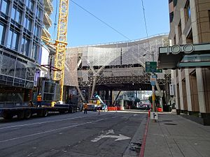 Transbay Transit Center construction on 1st Street.jpg