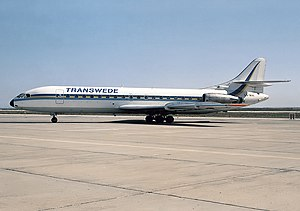 Transwede Airways - A Sud Aviation Super Caravelle at Faro Airport in 1986
