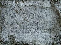 A Roman inscription at the castle hill of Trenčín (178-179 AD).