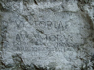Slovakia - A Roman inscription at the castle hill of Trenčín (178–179 AD)