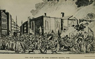 The Old Bailey in the Gordon Riots, 1780